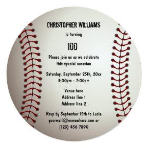 Sporty Baseball 100th Birthday Party Double Sided Invitations