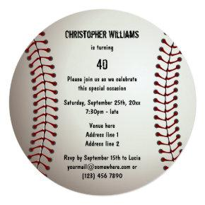 Sporty Baseball 40th Birthday Party Double Sided Invitations