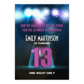 Spotlight Star Purple 13th Birthday Party Card