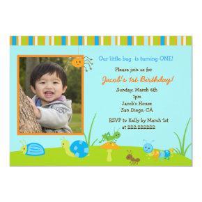 Spring Bug Photo Birthday invitations