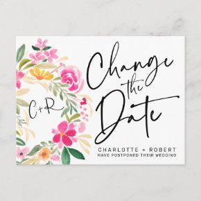 Spring floral wreath chic wedding change the date announcement post
