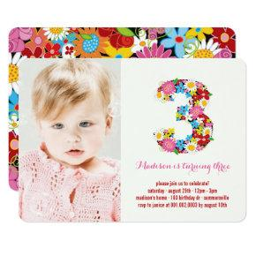 Girly 3rd party birthday invitations candied clouds spring flowers chic three girl 3rd birthday invite filmwisefo