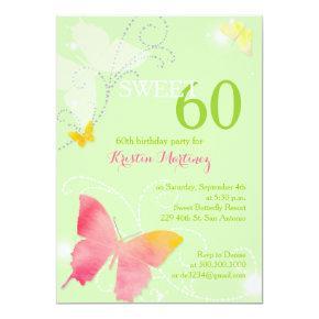 Spring Green Sweet 60th Birthday Party Invitation