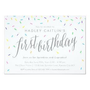 Sprinkles First Birthday Invitation, Cute & Modern Invitation