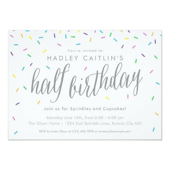 sprinkles half birthday invitation cute modern card
