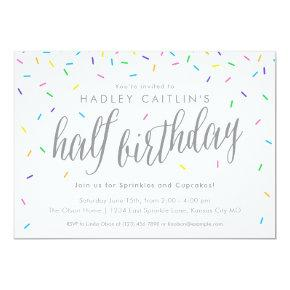 Sprinkles Half Birthday Invitations Cute Modern