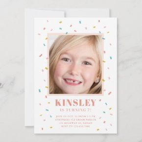 Sprinkles photo kids birthday party invitation
