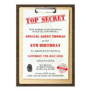 Spy themed birthday party invitation