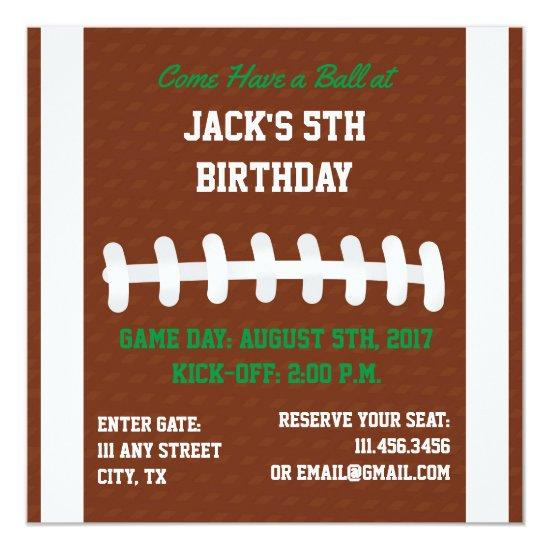 Square Football Themed Invite For Birthday Party Candied