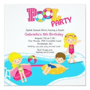 Square Pink Pool Party Girls Birthday Invitations