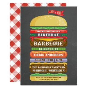 Stacked Hamburger Birthday BBQ Chalkboard Invitations