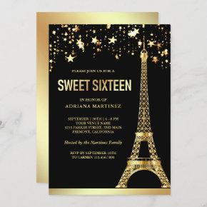 Star Confetti Gold Foil Eiffel Tower Sweet Sixteen Invitation