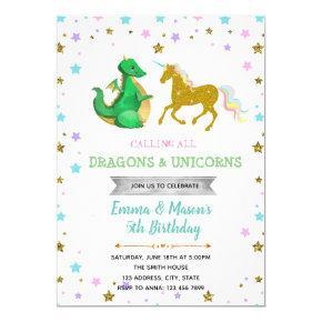 Star dragon unicorn party theme invitation