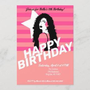Star Makeup Model Birthday Invitation