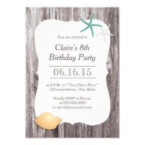 Starfish & Seashell Beach Driftwood Birthday Party Invitation