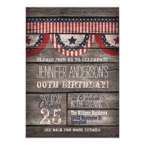 Stars & Stripes, Rustic Adult Teen Birthday Invitation