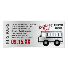 Steel Design 21st Birthday Party Bus Pass Invitations