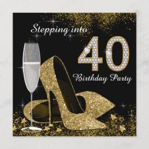 Stepping Into 40 Birthday Party Invitation