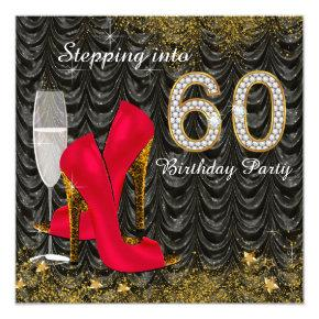 Stepping Into 60 Birthday Party Glitter Satin Red Invitation