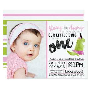 Stomp and Chomp Little Girl Dino Birthday Dinosaur Invitation