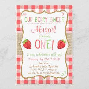 Strawberry Berry Sweet Pink Red First Birthday Invitation