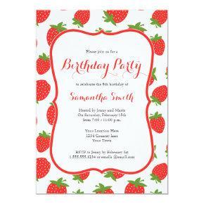 Strawberry Birthday Invitations