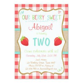 Strawberry Birthday Invitations Summer Party Girl