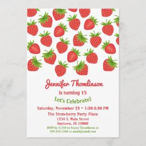 Strawberry Birthday Invitation Summer Strawberries