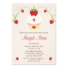Strawberry Cupcake Birthday Invitation Any Age