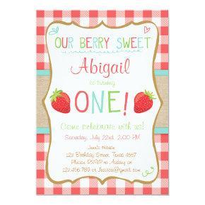 Strawberry First Birthday Invitation Summer Party