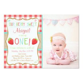 Strawberry First Birthday Invitations Summer Party