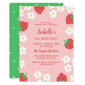 Strawberry Flowers Birthday Party Invitations
