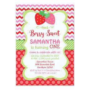 strawberry Invitations, strawberry birthday invite