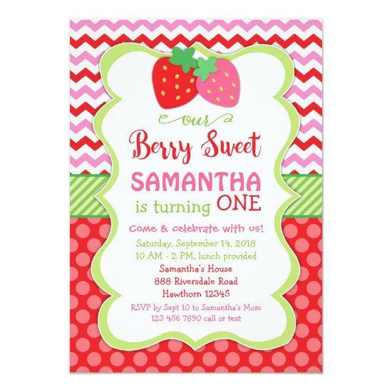 strawberry Invitations, strawberry birthday invite