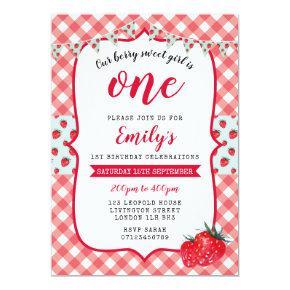 Strawberry Picnic 1st Birthday Invitations