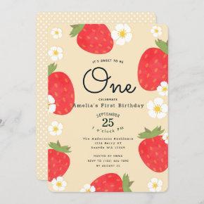 Strawberry Sweet to Be One 1st Birthday Invitation
