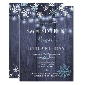 String lights snowflakes chic winter sweet sixteen Invitations