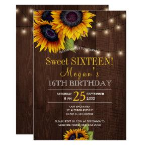 String lights sunflowers chic rustic sweet sixteen card