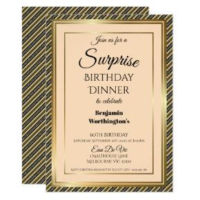 Striped 60th Surprise Birthday Dinner Invitation