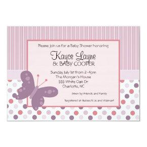 Stripes and Dots Purple Butterfly Invitation