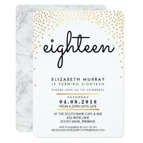 STYLISH 18TH birthday party INVITE gold confetti