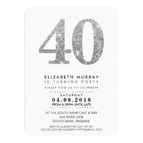 STYLISH 40TH birthday party INVITE silver glitter