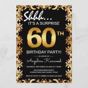 Stylish Black & Gold 60th Surprise Birthday Party Invitation
