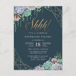 Stylish Script Succulents Surprise Birthday Party Invitation Post