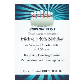 Stylish Ten Pin Bowling Birthday Party Invitations