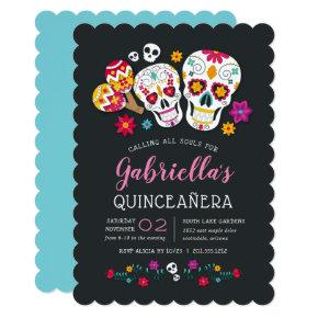 Sugar Skulls Day of the Dead Theme Quinceanera Invitation