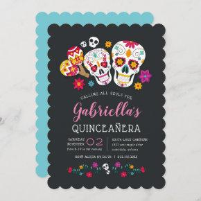 Sugar Skulls Day of the Dead Theme Quinceanera Invitation