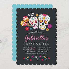 Sugar Skulls Day of the Dead Theme Sweet Sixteen Invitation