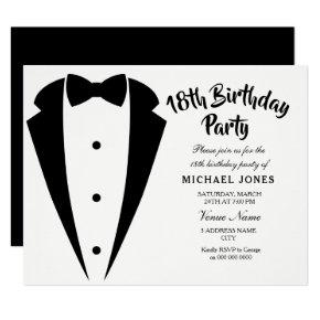 Suit & Tie mens 18th birthday party invitation