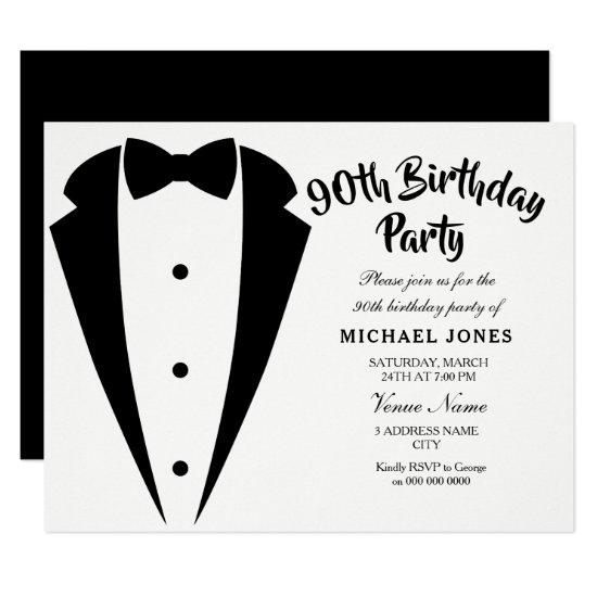 Suit Tie Mens 90th Birthday Party Invitations
